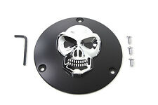 Black Derby Cover with Chrome Skull For Harley-Davidson