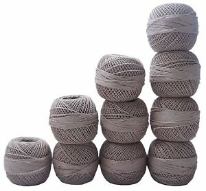 Cotton Yarn Hand Knitting Lace Crochet Light Gray Thread Yarn Skeins 3 Ball
