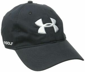 NEW Under Armour Men's Cotton Washed Curved Golf Cap-Black/White OSFA