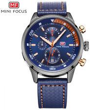 Mini Focus reloj deportivo de hombre multifunción con día y correa de piel azul