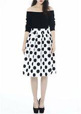 Women's Box Pleat Polka-Dot White,Black,Red,Navy Print Swing Skirt- S,M,L,XL,XXL