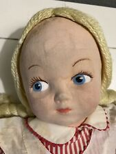 """New listing Vintage Cloth Body 20"""" Rag Doll Molded Painted Face"""