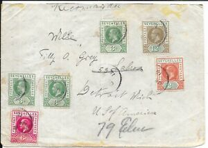 SEYCHELLES 1911 KG5 COVER TO USA
