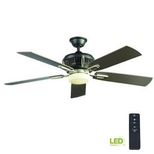 Ceiling Fan with LED Light Kit & Remote 56 in. Brushed Nickel Johns Creek HDC