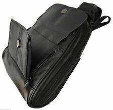 Women's Black Genuine Leather Zippered Backpack Style Purse