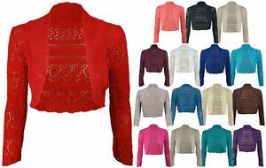 Women Ladies Long Sleeve Knitted Crochet Shrug  Bolero Crop Top