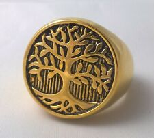 G-Filled 18k yellow gold round Mens signet ring Gents tree of life peace US 13.5
