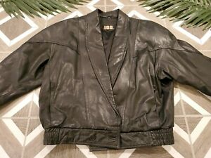 Vintage 80's IOU Leather Black Jacket Coat Medium Crop Padded Shoulder Elastic