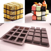 12 Grid Cube Silicone Cake Decorating Candy Cookies Chocolate Baking Mould