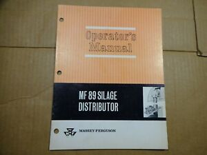 Massey Ferguson MF 89 Silage Distributor operators manual 7/65