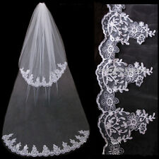 2 Tier Bridal Veil wth Sequined Lace Edge Cathedral Length White/Ivory Comb on