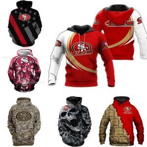 San Francisco 49ers Men's Pullover Hoodies Hooded Sweatshirt Casual Jacket Gifts