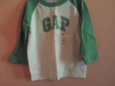 NWT baby Gap boy white raglan style t-shirt w/green sleeves & logo; size 3T