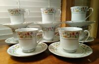 8 Vintage Ashley Overseas Eternal Love Pattern Cup & Saucers Sold Individually