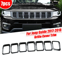 7Pcs Black Front Middle Grill Mesh Grille Cover Trim For Jeep Guide 2017-2018