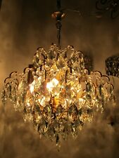 Antique French Gigantic Spider Style Crystal Chandelier Lamp 1950's Ø 22 in Dmtr