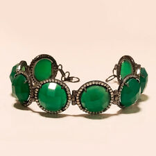 Brazilian Grass Green Onyx Gemstone Sterling Silver Black Rhodium Fine Bracelet