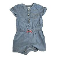 Carters Baby Girl 12 Months One Piece Short Sleeve Chambray Romper Jumper Bow