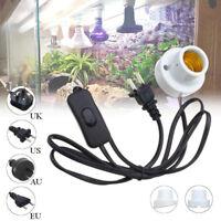 E27 Crawler Reptile Ceramic Heat Lamp Holder w/ Light Switch Socket Adapter Lamp