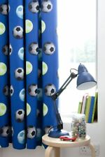 Football Curtains 66x72 Inches Blue Fully Lined Pencil Pleat Pair & Tiebacks New