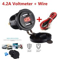 Dual USB Charger Socket Power Outlet 4.2A 12-24V LED Red Car Boat Marine