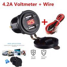 Dual USB Charger Socket Power Outlet 4.2A 12-24V LED Red Car Boat Marine