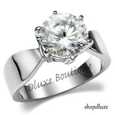 3.35 Ct Round Cut Stainless Steel AAA CZ Engagement Ring Band Women's Size 5-10
