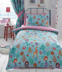 Kids Club - Mermaids Fish Under The Sea Duvet Cover Bed Set OR Matching Curtains