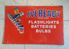 Vintage Eveready Flashlights Batteries Bulbs Sign Metal Enamel Signboard
