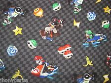 NINTENDO MARIO CART CHECKER FLAG YOSHI STARS RACING on COTTON FABRIC Last YARD