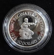 1996 ARGENTO PROOF Fiji 10 DOLLARI MONETA + COA 70th COMPLEANNO REGINA ELISABETTA