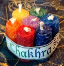 """Beeswax hand rolled Chakra Candles """"Bee-Clear"""" 7 Chakra Set Stones & Herbs insid"""