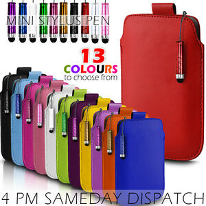 LEATHER PULL TAB SKIN CASE COVER POUCH+MINI STYLUS FOR VARIOUS SAMSUNG MOBILE