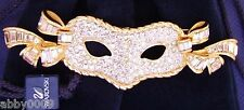 Signed Swan Swarovski Large Gold Plated Pave' Mask Brooch Pin