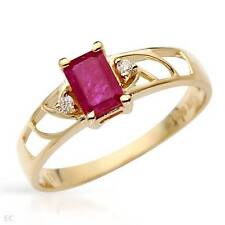 'CELINE F' SOLID 10K YELLOW GOLD GENUINE RUBY AND DIAMOND RING 7 - U$1080