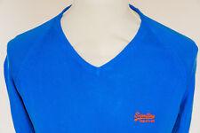 Superdry Mens Knitted Cotton Long Sleeve V-Neck Jumper Sweatshirt Blue - Medium
