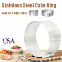 "Stainless Steel Mousse Cake Ring Mold Adjustable 6"" ~ 12"" Round Cutter Bake Tool"