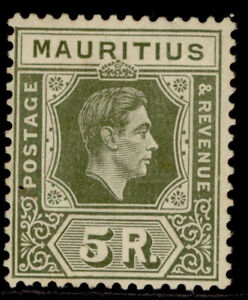 MAURITIUS GVI SG262, 5r olive-green, M MINT. Cat £55. CHALKY