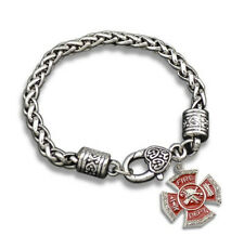 Thin Red Line Firefighter Fire Man Dept Wife Antique Silver Charm Bracelet