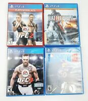 PS4 Lot Of 4 Video Games UFC 4-BattleField 4-UFC 2-The Show 16