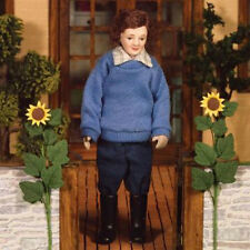 Dolls House Porcelain Man Doll in Wellington Boots   : 12th scale