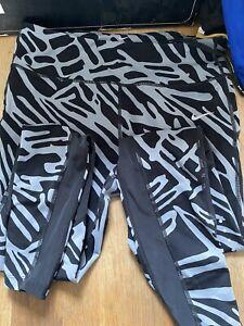 Womans Nike Dri-fit Running Leggins Black & Grey Size Large