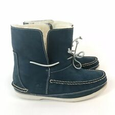 Chatham 40 UK7 Blue Nubuck Leather Ankle Loafers Lace Fur Lined Moccasin Boots
