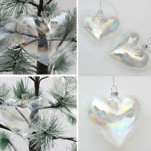 36x Glass Heart Shaped Baubles Fillable Wedding Christmas Ornaments Storage DIY