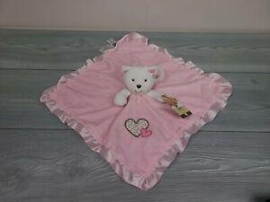 Carter's Little Layette Soft Plush Cat Kitten Security Blanket Satin Pink White