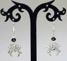 Silver alloy spider earrings, black crystals, silver-plated hooks, Halloween