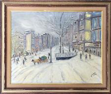 Naif Genre Painting 1930s/40s Signed Vira Winter Park Scene Oil on Panel 16 x 20