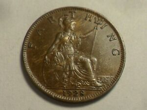 1928 NICE HIGH GRADE GREAT BRITAIN BRONZE FARTHING LOW MINTAGE 11,626,000!!
