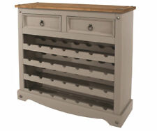 Premium Core Products Corona Grey Washed Large Wine Rack Solid Wood With Drawers