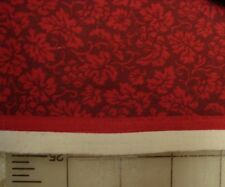 4 2/3rds yds red on dk red grapes & leaves sturdy cotton fabric